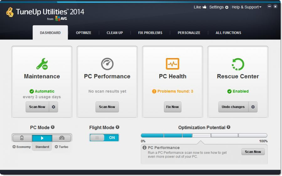 TuneUp Utilities 2014 (3 usuarios) Screenshot 1